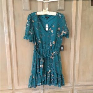 Express S Turquoise Floral Dress